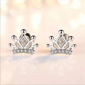 Sterling Silver 925 Crown Stud Earrings